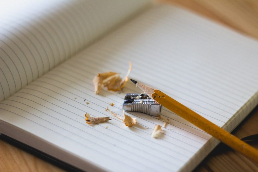 pencil, sharpener, notebook