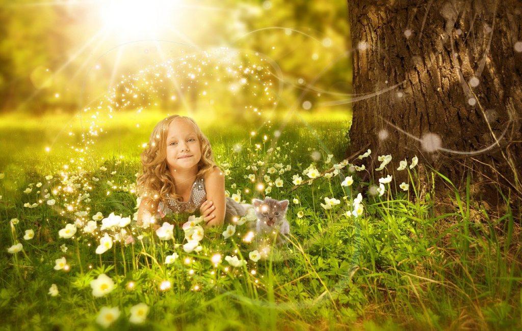 girl, child, flowers